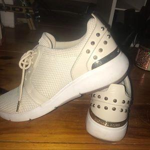 Michael Kors white/tan tennis shoes